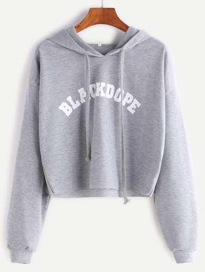 Sweat-shirt à capuche imprimé lettre outlet bruts court -gris