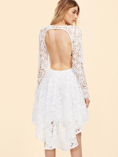 White Embroidered Lace Overlay Open Back Skater Dress