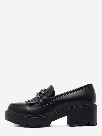 Black Fringe Chain Embellished Flatform Shoes