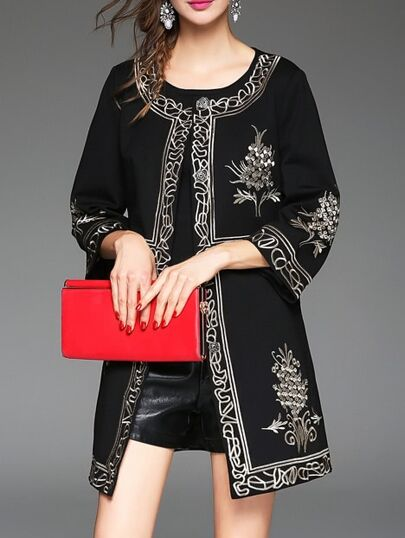 Black Crew Neck Vintage Embroidered Coat