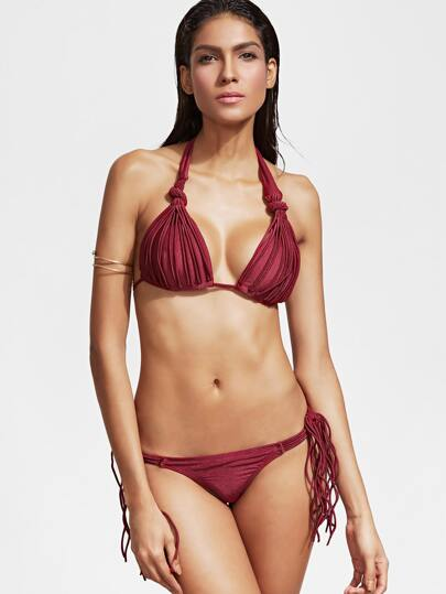 Burgundy Halter Side Tie Strappy Bikini Set