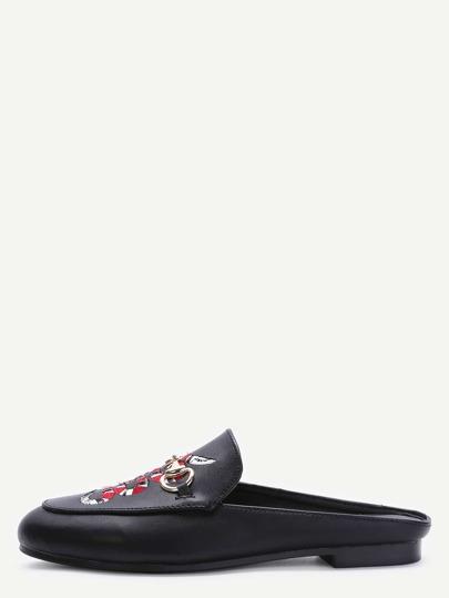 Schwarz Kunstleder Schlange gestickter Beleg-auf Schuhe