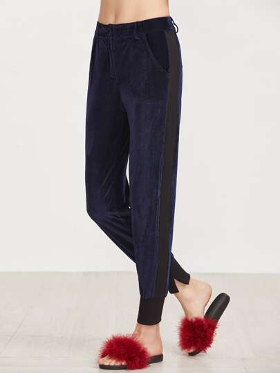 Navy Contrast Panel Ribbed Hem Cord Pants