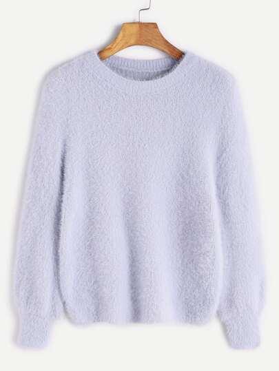 Pale Blue Long Sleeve Fuzzy Sweater