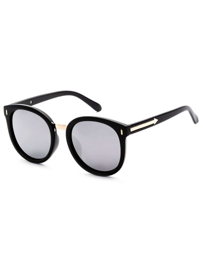 Lunettes de soleil cadre de l'oeil lentille de chat -noir