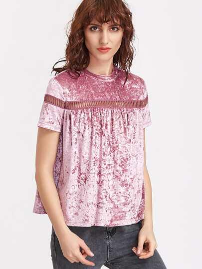 Purple Eyelet Crochet Insert Keyhole Back Velvet T-shirt