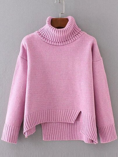 Pink Ribbed Trim Turtleneck Asymmetrical Sweater