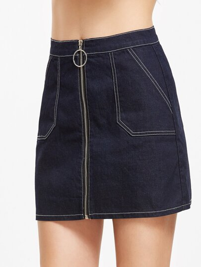 Navy Zip Up Topstitch Denim Skirt