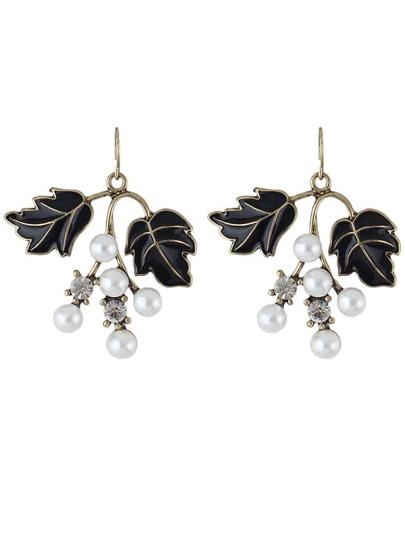 Black Color Pearl Leaf Shape Earrings
