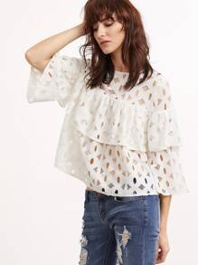 Hollow Out 3/4 Sleeve Layered Ruffle Lace Top