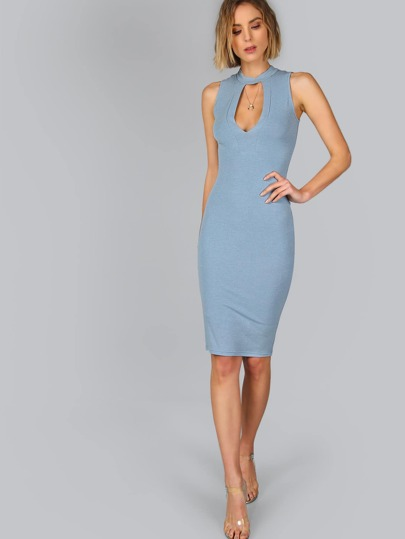 Blue Keyhole Front Sleeveless Pencil Dress