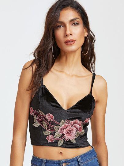 Black Embroidered Flower Applique Crop Velvet Cami Top