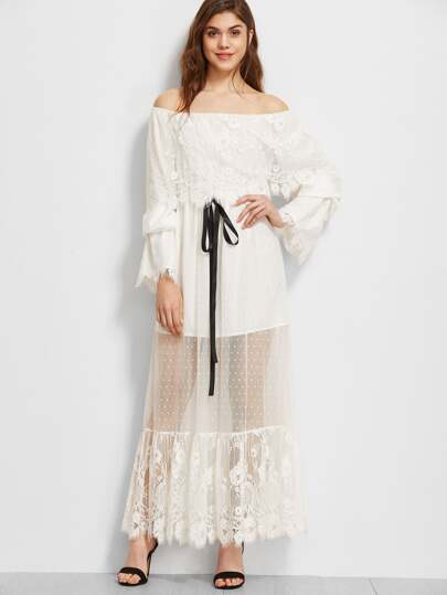 White Lace Trim Dotted Mesh Overlay Off The Shoulder Dress