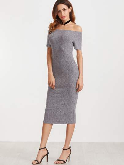 Grey Off The Shoulder Sheath Dress