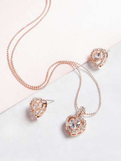 Pink Tone Crystal Inlay Beaded Necklace Set