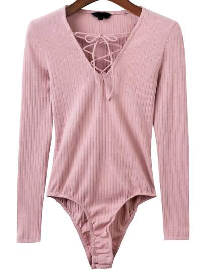 Pink Lace Up V Neck Bodysuit