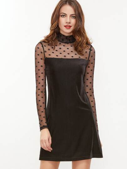 Black Keyhole Back Polka Dot Mesh Sleeve Cord Dress
