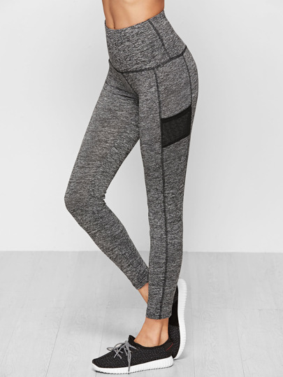 Grey Marled Knit Wide Waistband Leggings
