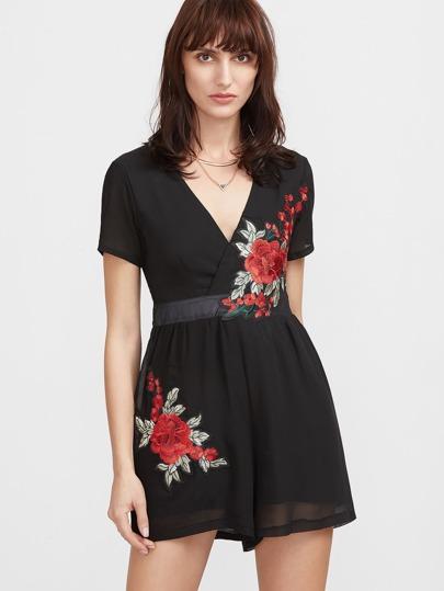 Black Floral Embroidered V Neck Wrap Sheer Romper