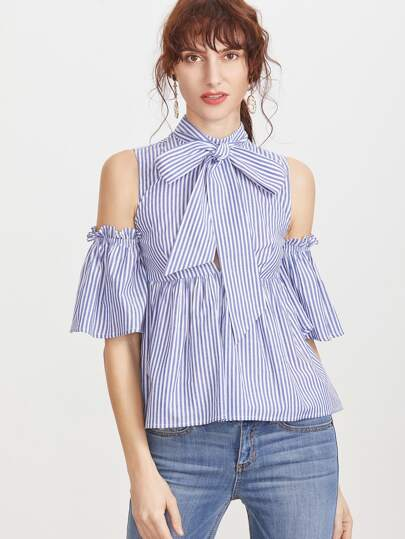 Blue Striped Tie Neck Cold Shoulder Babydoll Blouse