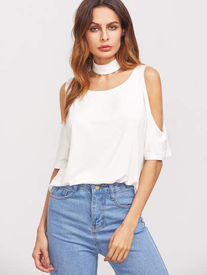 White Cold Shoulder T-shirt With Choker