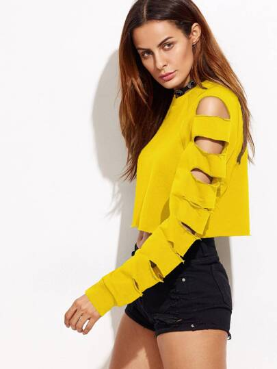 Yellow Ladder Cut Out Sleeve Raw Hem Sweatshirt