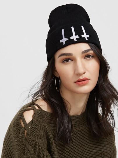 Bonnet ctoisé à nervures tricoté -noir