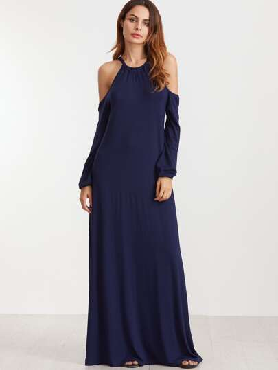 Navy Cold Shoulder Lantern Sleeve Maxi Dress