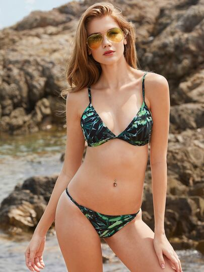 Green Leaf Print Triangle Bikini Set
