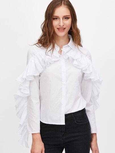 Blusa ribete con volantes y bajo redondeado - blanco