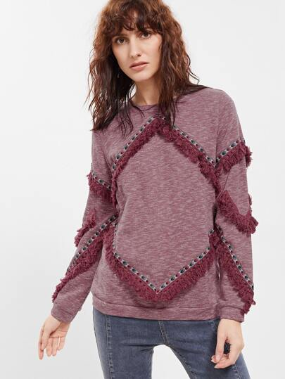 Burgundy Marled Knit Knotted Fringe Trim Sweatshirt