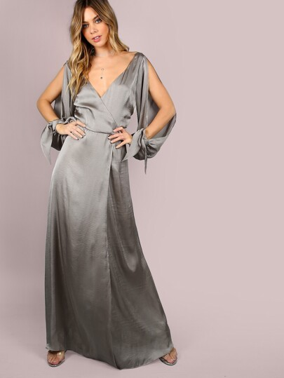 Wrap Over Slit Sleeve Satin Maxi Dress GUNMETAL