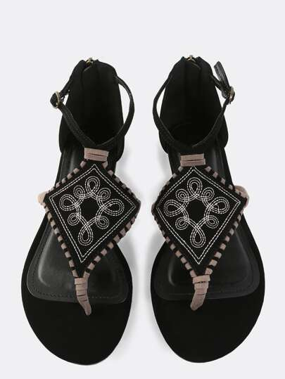 Diamond Thong Stitched Sandals BLACK