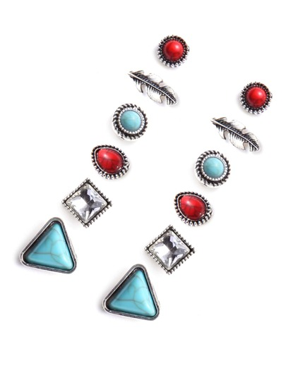 Multicolor Vintage Stud Earring Set 6 PCS