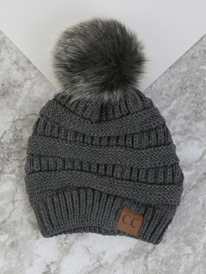 Thick Knit Pom Pom Beanie DARK GREY