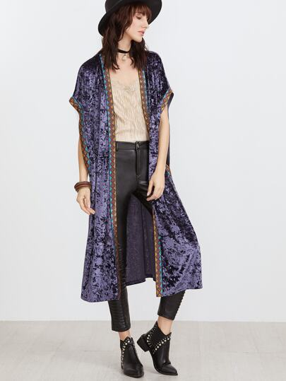 Purple Batwing Longline Velvet Kimono With Embroidered Tape Detail