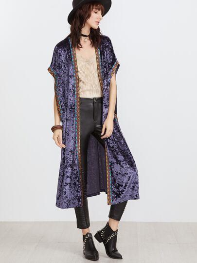 Kimono velours longue avec détail bande brodée -violet