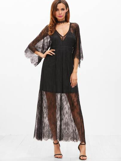 Black Deep V Neck 3/4 Sleeve Floral Lace Overlay Dress