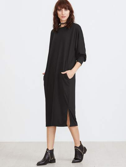 Black Drop Shoulder Slit Side Shift Dress With Pockets