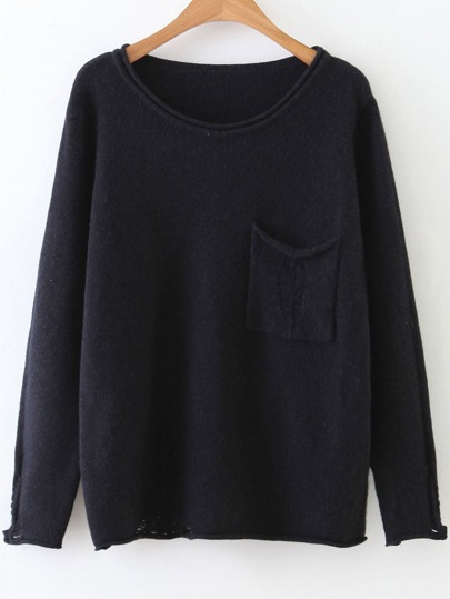Black Rolled Trim Ripped Knitwear With Pocket