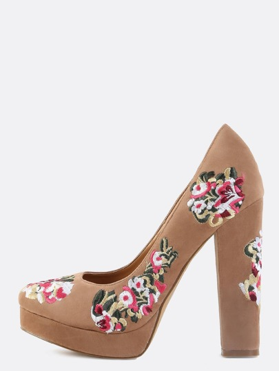 Platform Floral Embroidered Pumps TAUPE