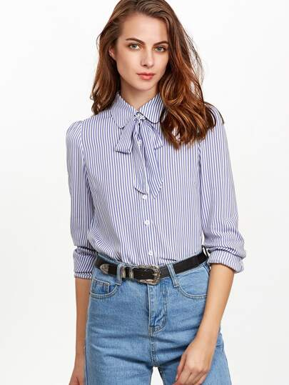 Blue And White Striped Tie Neck Puff Sleeve Blouse