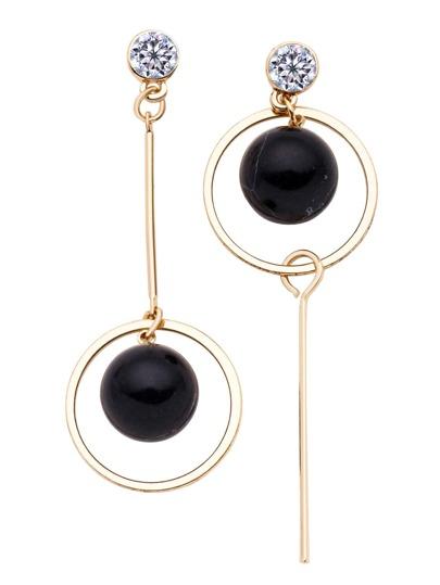 Gold Tone Metal Circle Turquoise Drop Earrings