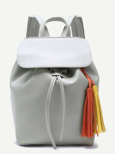 Light Grey Faux Leather Flap Top Tassel Backpack