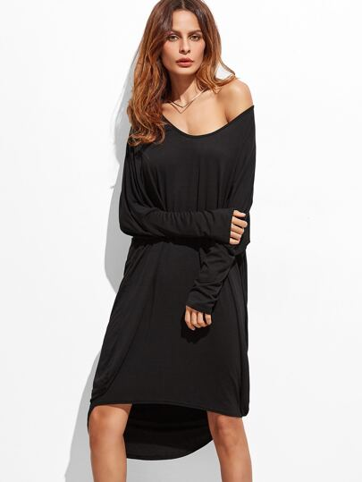 Black Batwing Sleeve High Low Dress