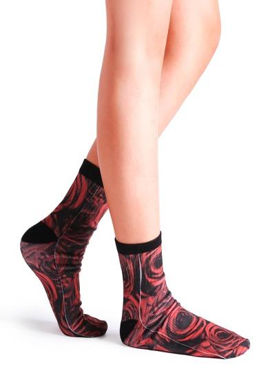 Black And Red Rose Print Crew Socks