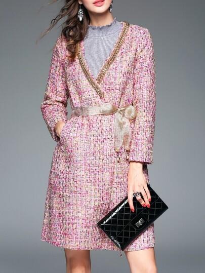 Mantel V-Ausschnitt Schleief am Taille Taschen-rosa