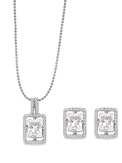 Silver Tone Crystal Inlaid Beaded Jewelry Set
