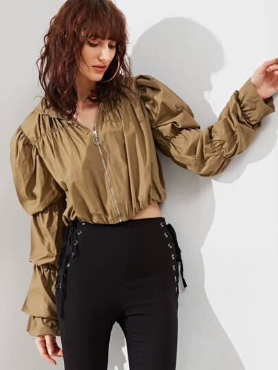 Elastic Puff Sleeve Zip Up Crop Jacket