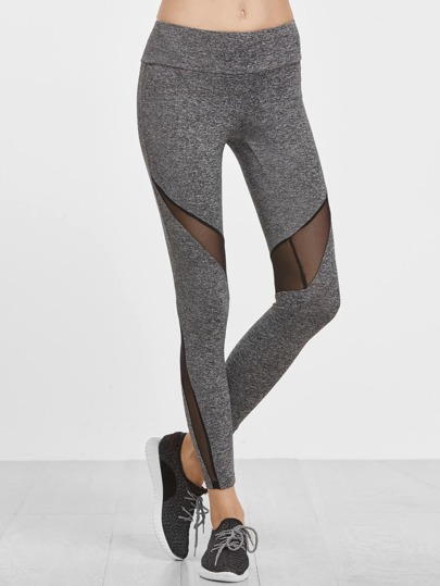Knit Wide Waistband Mesh Insert Leggings